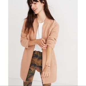 Madewell Bomber Sweater Jacket in Apricot